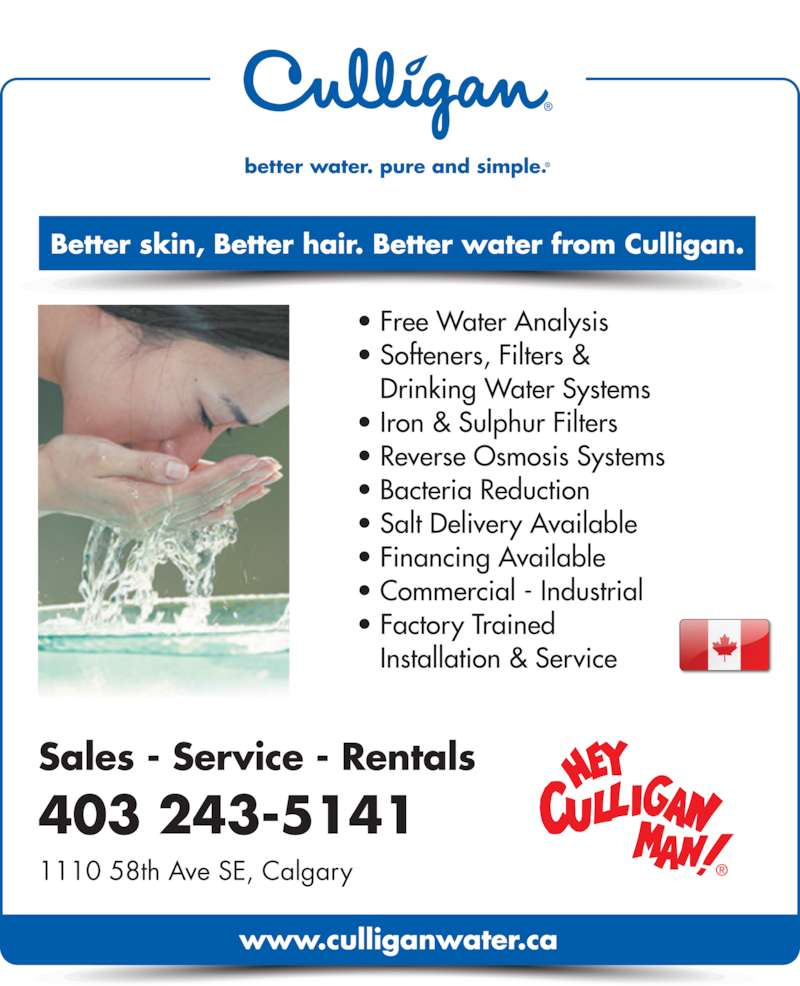 Culligan Water Calgary Ab 1110 58 Ave Se Canpages