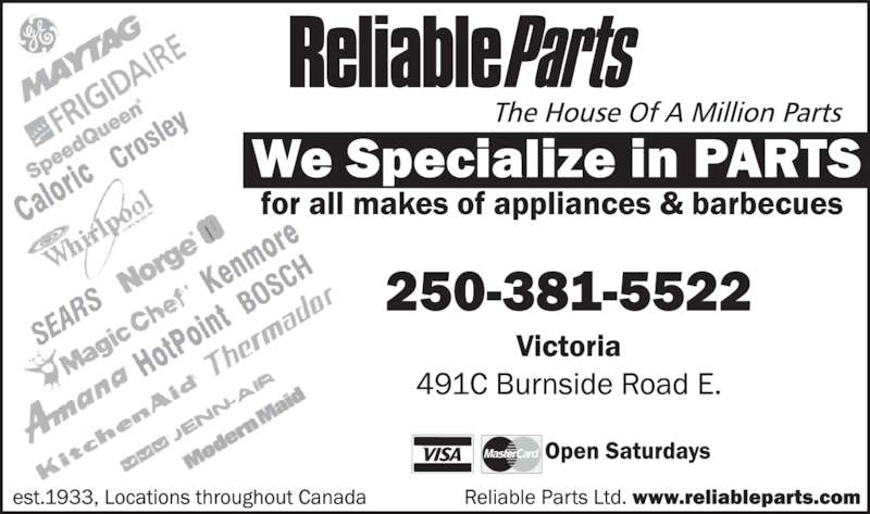 Reliable Parts (250-381-5522) - Display Ad -