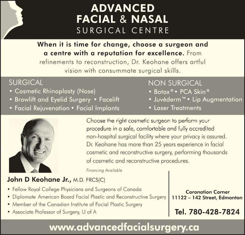 Advanced Facial & Nasal Surgery Centre (780-428-7824) - Display Ad -