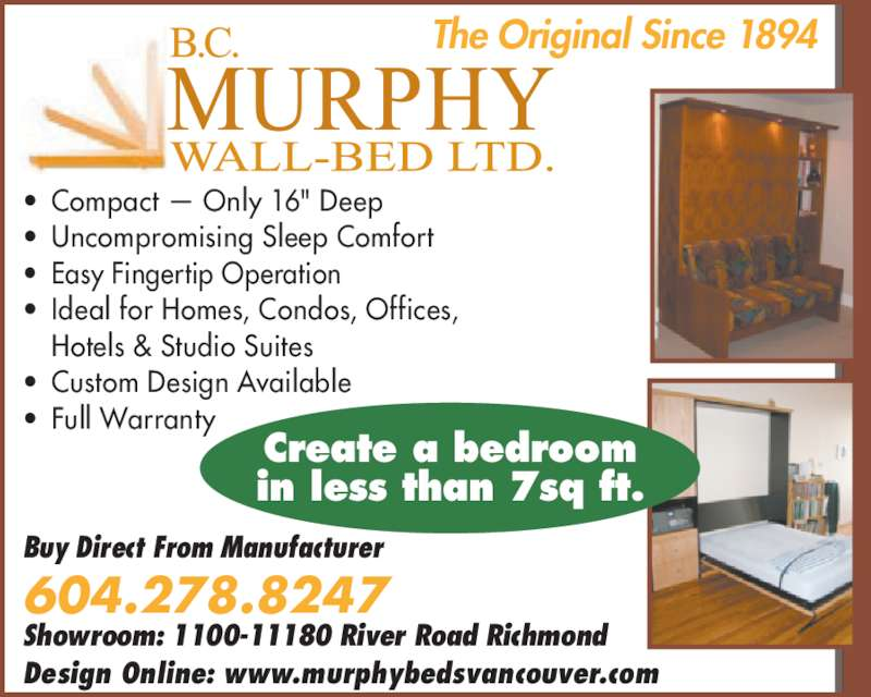 Murphy Wall Beds (604-278-8247) - Annonce illustrée======= -