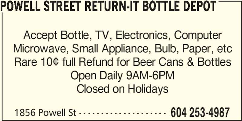 Ads Powell Street Return-It Bottle Depot