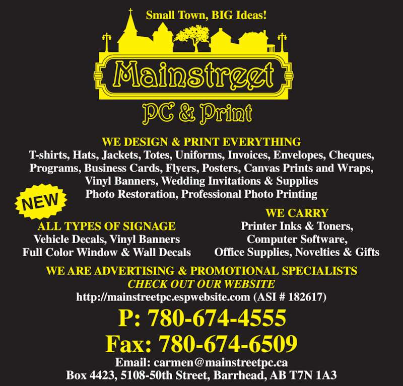 Mainstreet pc print 5108 50 st barrhead ab for T shirt design programs for pc