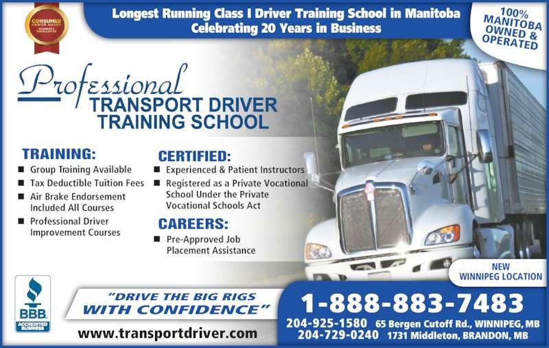 Professional transport driver training school opening hours 65 bergen cutoff rd winnipeg mb