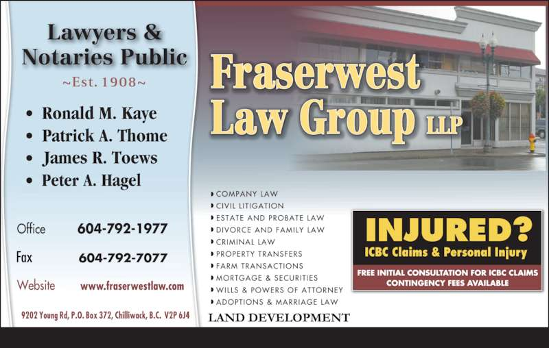 Fraserwest Law Group (604-792-1977) - Display Ad - 604-792-1977
