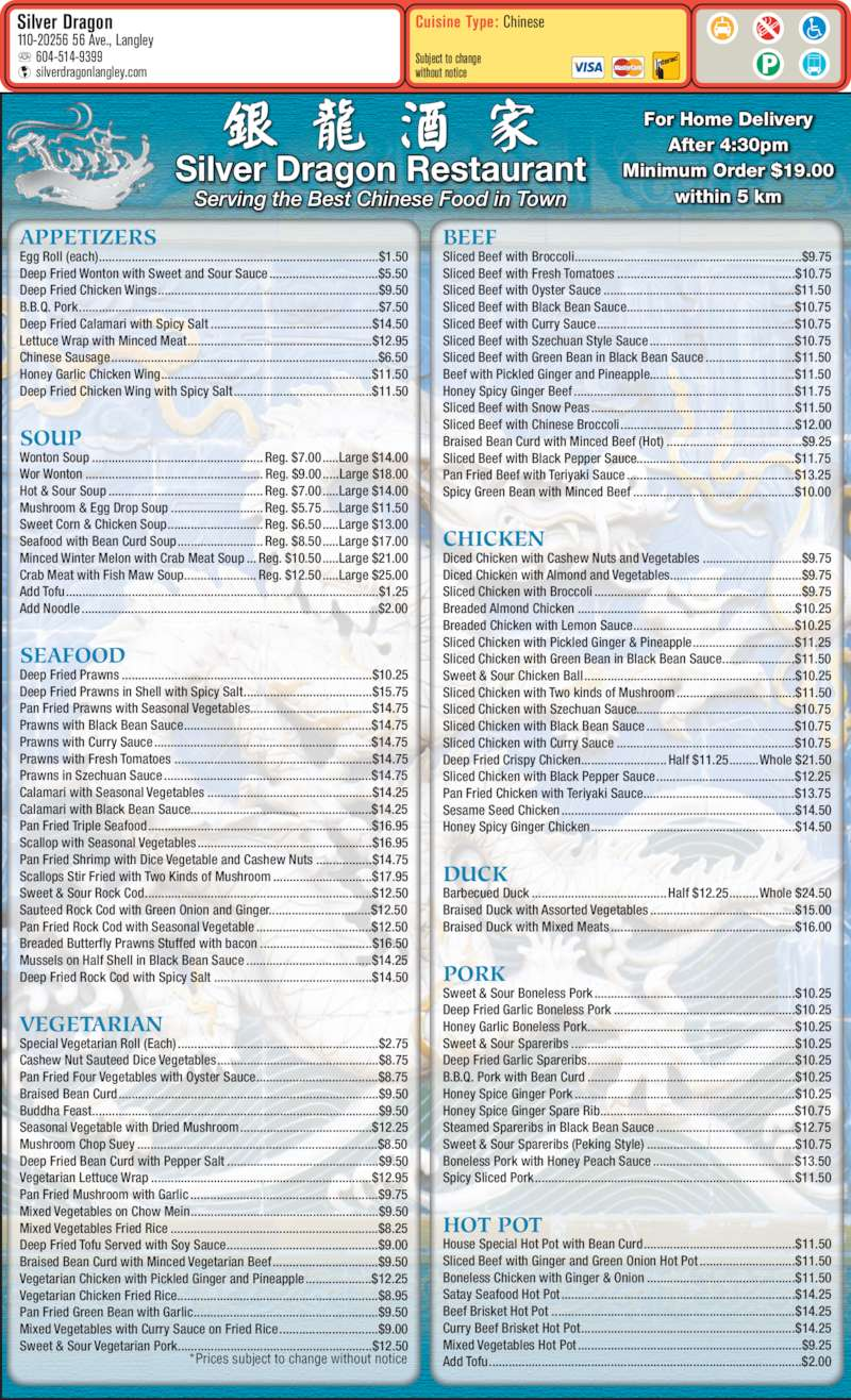 Silver Dragon Chinese Food Menu