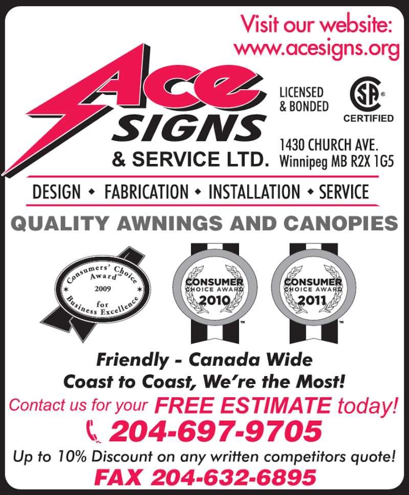 Ace Signs Amp Service Ltd Winnipeg Mb 1430 Church Ave