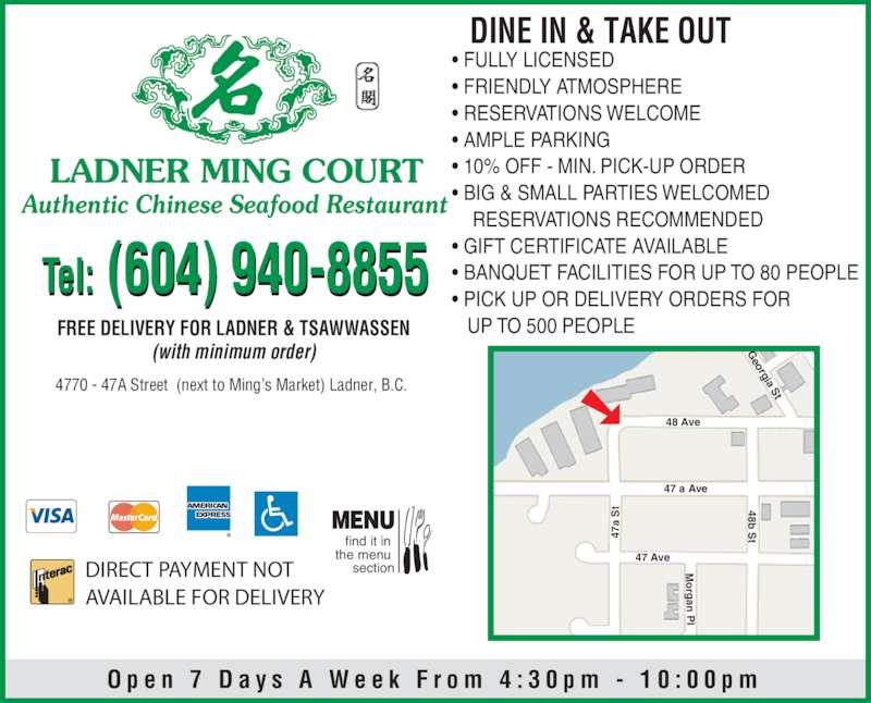 ladner ming court restaurant delta bc 4770 47a st. Black Bedroom Furniture Sets. Home Design Ideas