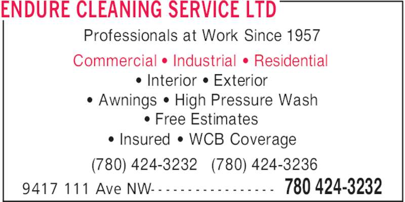 Endure Cleaning Service Ltd - Opening Hours - 9417 111 Ave ...
