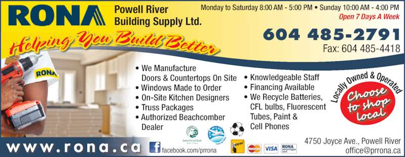 Rona Building Centre Powell River Bc 4750 Joyce Ave