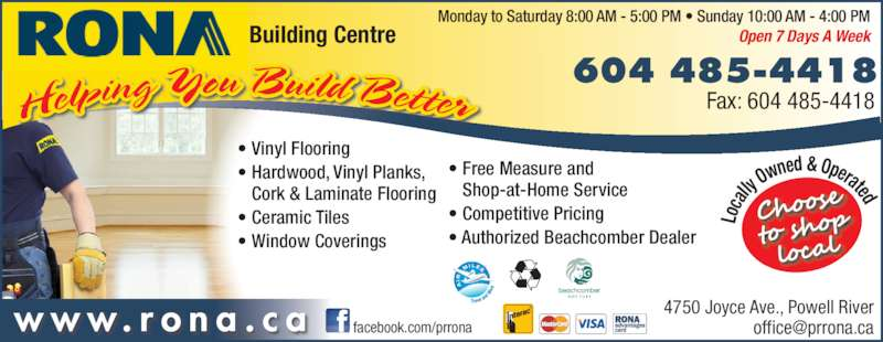 Rona Building Centre Powell River Bc 4750 Joyce Ave