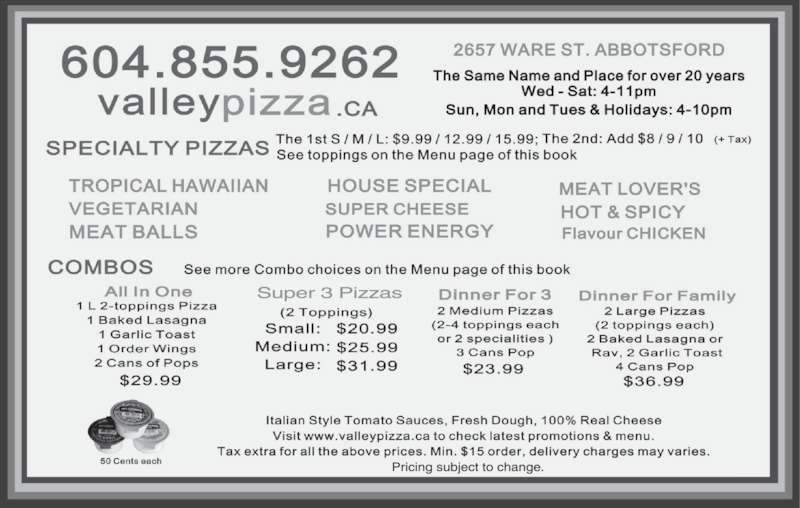 Valley Pizza (604-855-9262) - Display Ad -