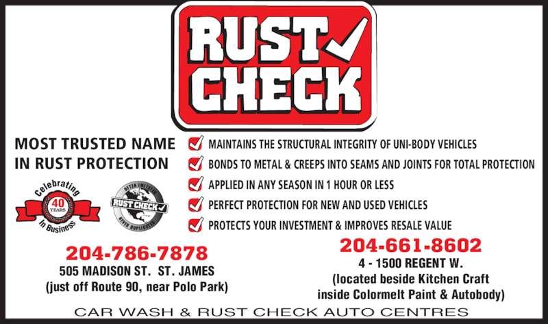 Car Wash & Rust Check Centre (204-786-7878) - Annonce illustrée======= -