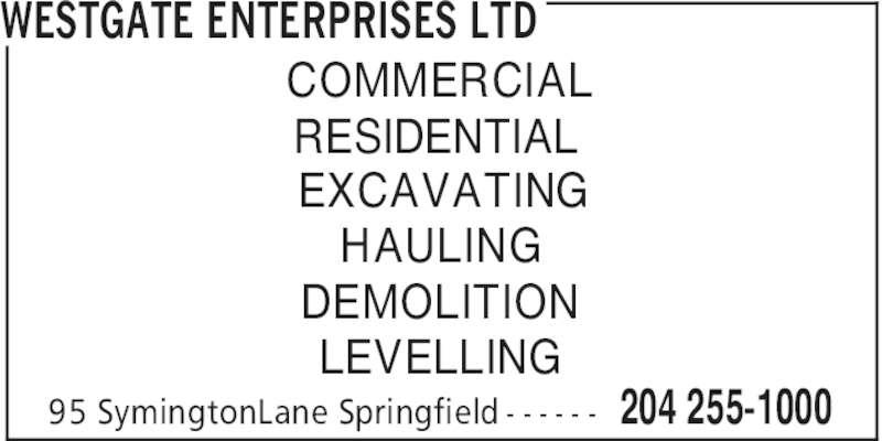 Westgate Enterprises Ltd (204-255-1000) - Annonce illustrée======= -