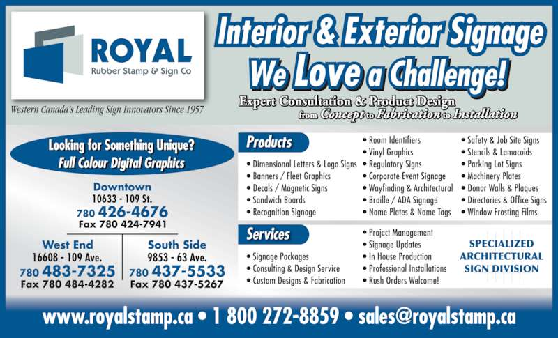 Royal Rubber Stamp Co Ltd Edmonton Ab 10633 109th