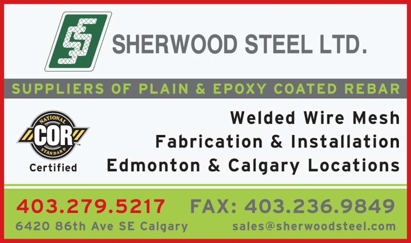 Sherwood Steel Ltd (403-279-5217) - Display Ad -