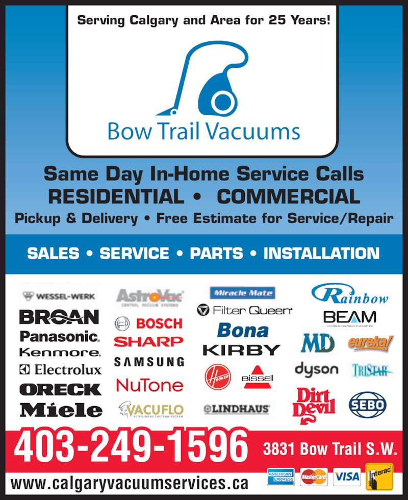 Bow Trail Vacuums Opening Hours 3831 Bow Trail Sw