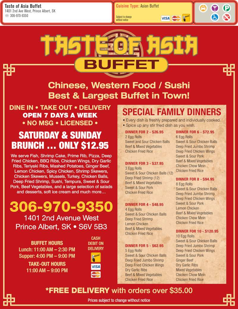 Taste of asia buffet menu hours prices 1401 2nd ave for Asian cuisine saskatoon menu