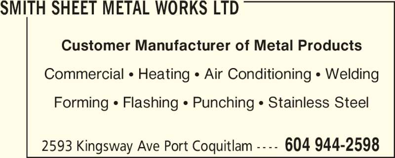 Smith Sheet Metal Works Ltd Opening Hours 2593