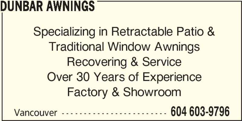 dunbar awnings opening hours vancouver bc