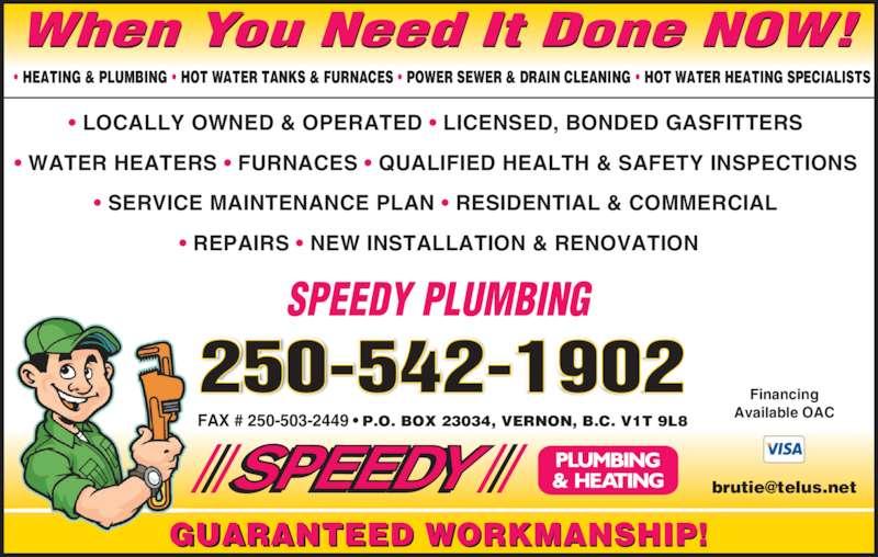 Speedy Plumbing Amp Heating Opening Hours Po Box 23034