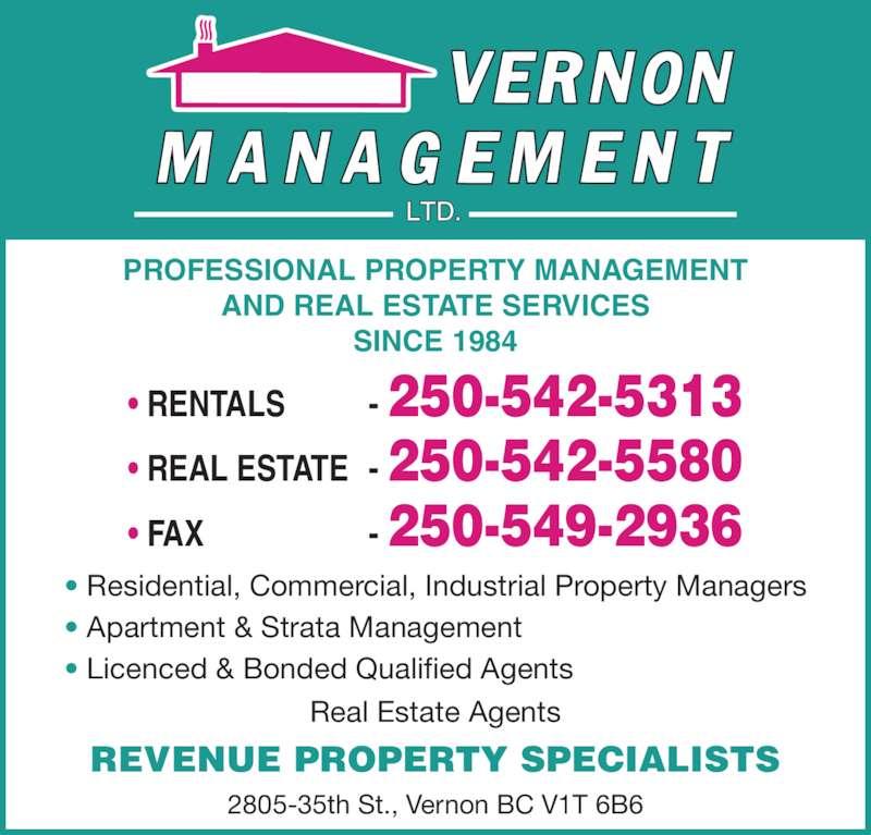 Commercial Property Management : Vernon management ltd  st bc