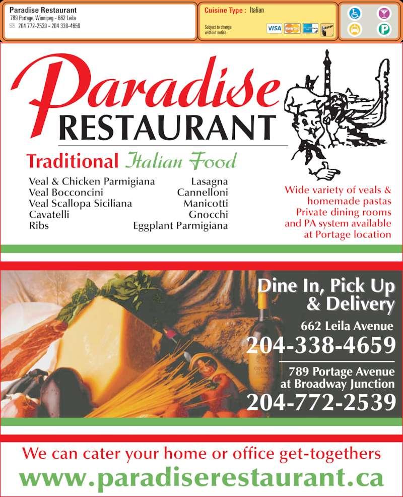 Paradise Restaurant Leila Menu