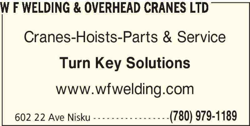 Overhead Cranes Nisku : W f welding overhead cranes ltd nisku ab ave
