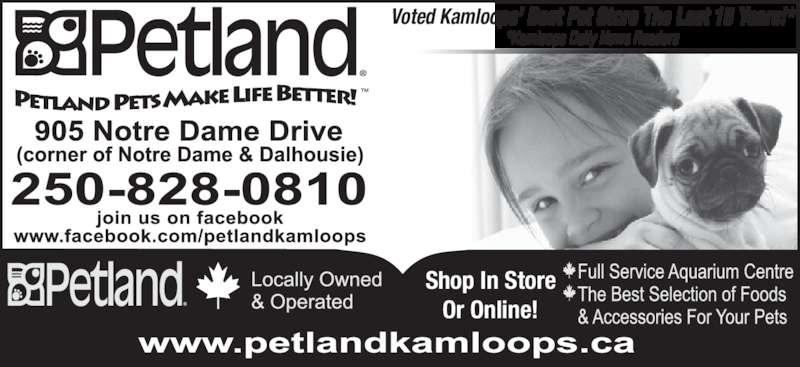 Petland (250-828-0810) - Display Ad - Shop In Store Or Online! Voted Kamloops' Best Pet Store The Last 15 Years!* *Kamloops Daily News Readers