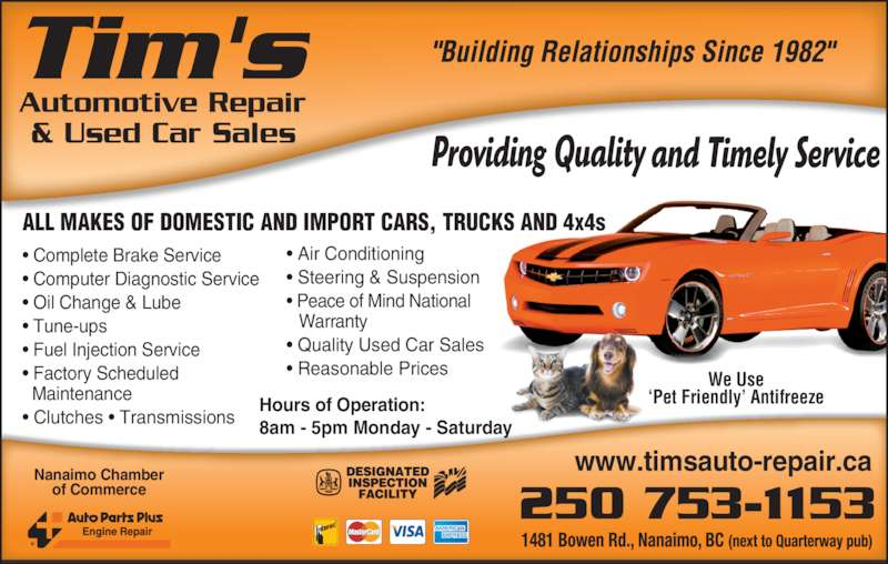 Tim S Auto Repair Nanaimo Opening Hours 1481 Bowen Rd