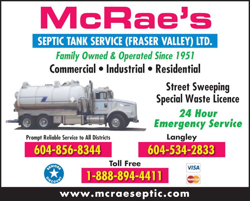 Mcrae 39 s septic tank service fraser valley ltd for 24 hour tanning salon near me