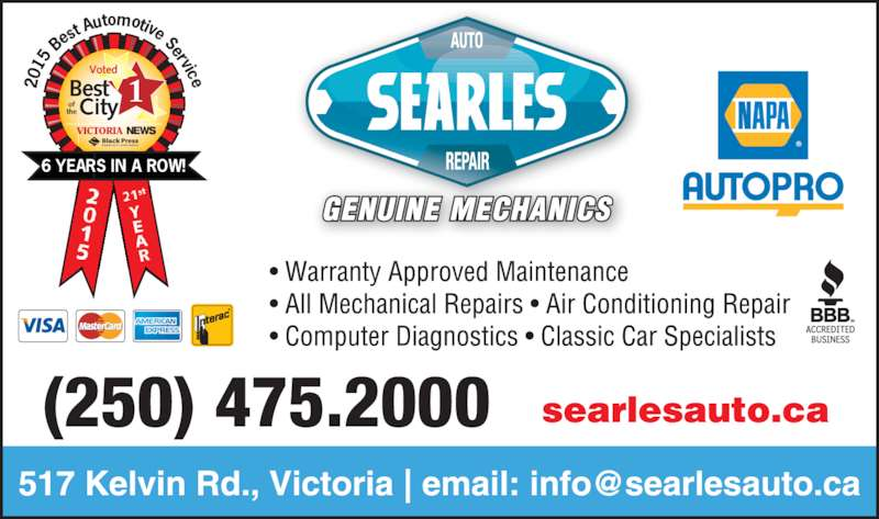 Searle's Auto Repair (250-475-2000) - Display Ad - City VICTORIA NEWS Best of the Voted 120 15  Be st A utomotive Service 6 YEARS IN A ROW! (250) 475.2000