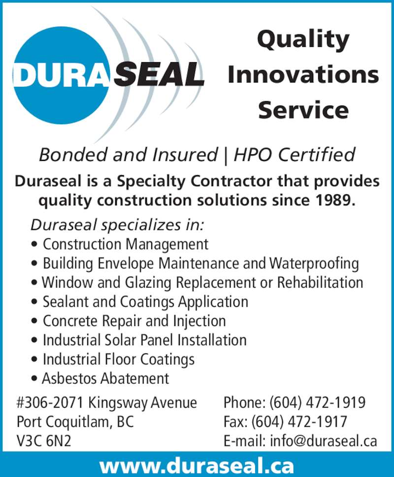 Duraseal ltd 306 2071 kingsway ave port coquitlam bc for Columbia flooring application