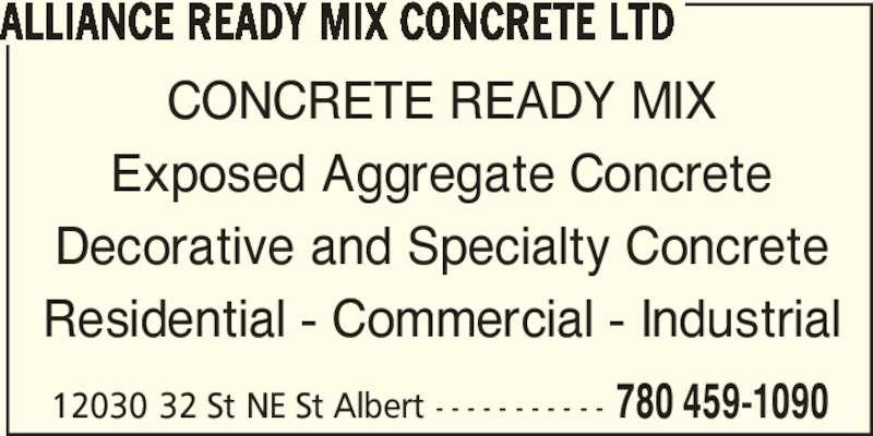 Nebraska Ready Mixed Concrete : Alliance ready mix ltd order desk edmonton ab