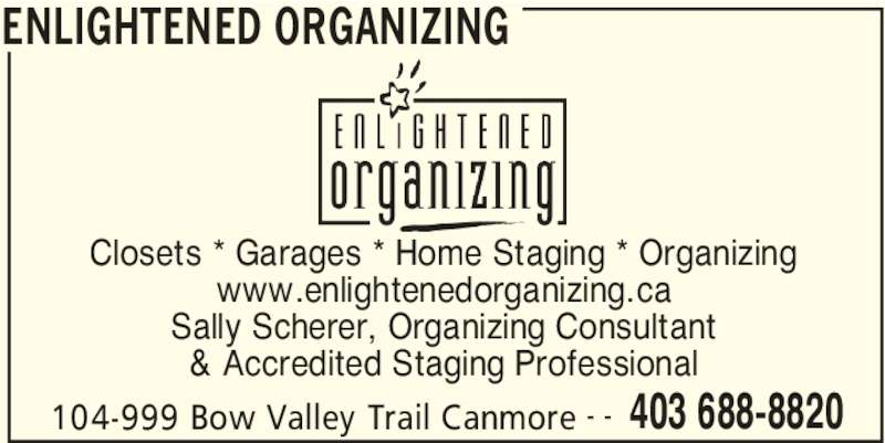 Enlightened Organizing Canmore Ab 104 999 Bow Valley Trail Canpages