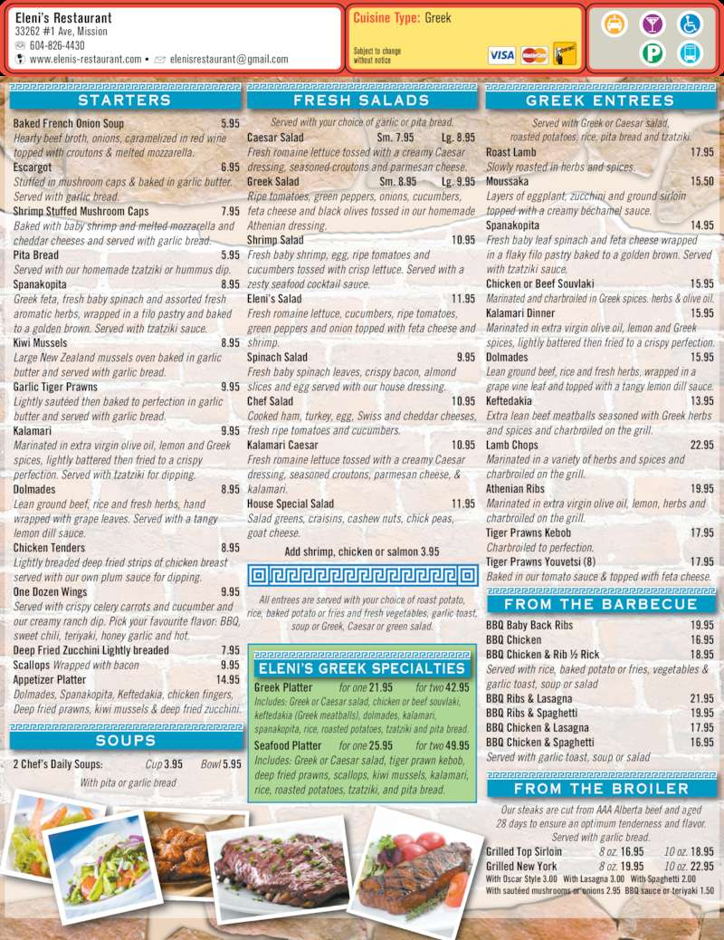 Elenni S Family Restaurant Menu