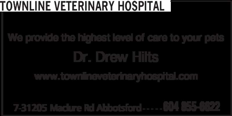 Townline Veterinary Hospital (604-855-6622) - Display Ad - We provide the highest level of care to your pets Dr. Drew Hilts www.townlineveterinaryhospital.com 7-31205 Maclure Rd Abbotsford - - - - - 604 855-6622 TOWNLINE VETERINARY HOSPITAL