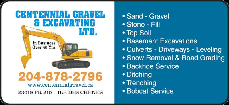 Centennial Gravel & Excavating Ltd (204-878-2796) - Annonce illustrée======= -