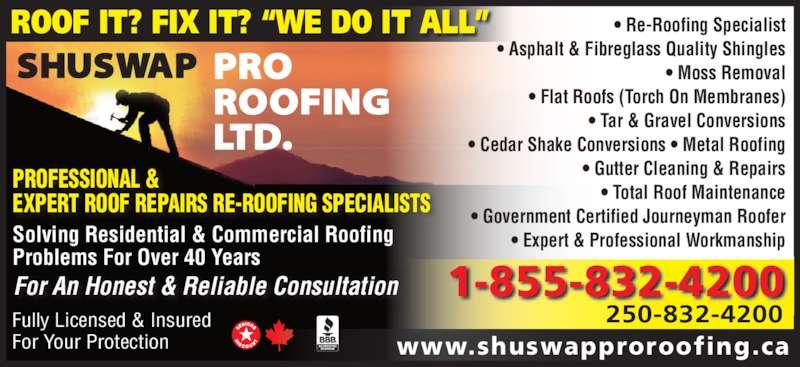 Shuswap Pro Roofing Ltd Opening Hours 1671 30 Street