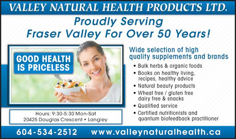 Valley Natural Health Products Langley Bc