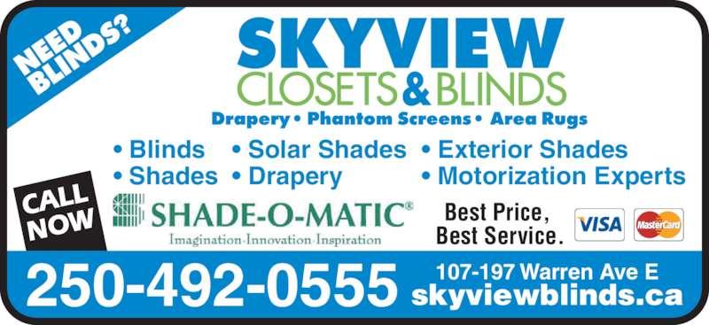 Skyview Blinds Amp Closets Penticton Bc 107 197 Warren