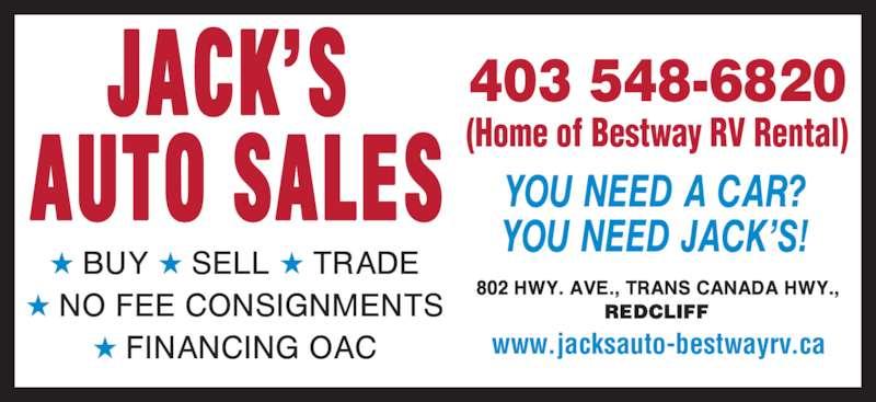 Jack's Auto Sales (403-548-6820) - Display Ad - 403 548-6820 (Home of Bestway RV Rental) www.jacksauto-bestwayrv.ca