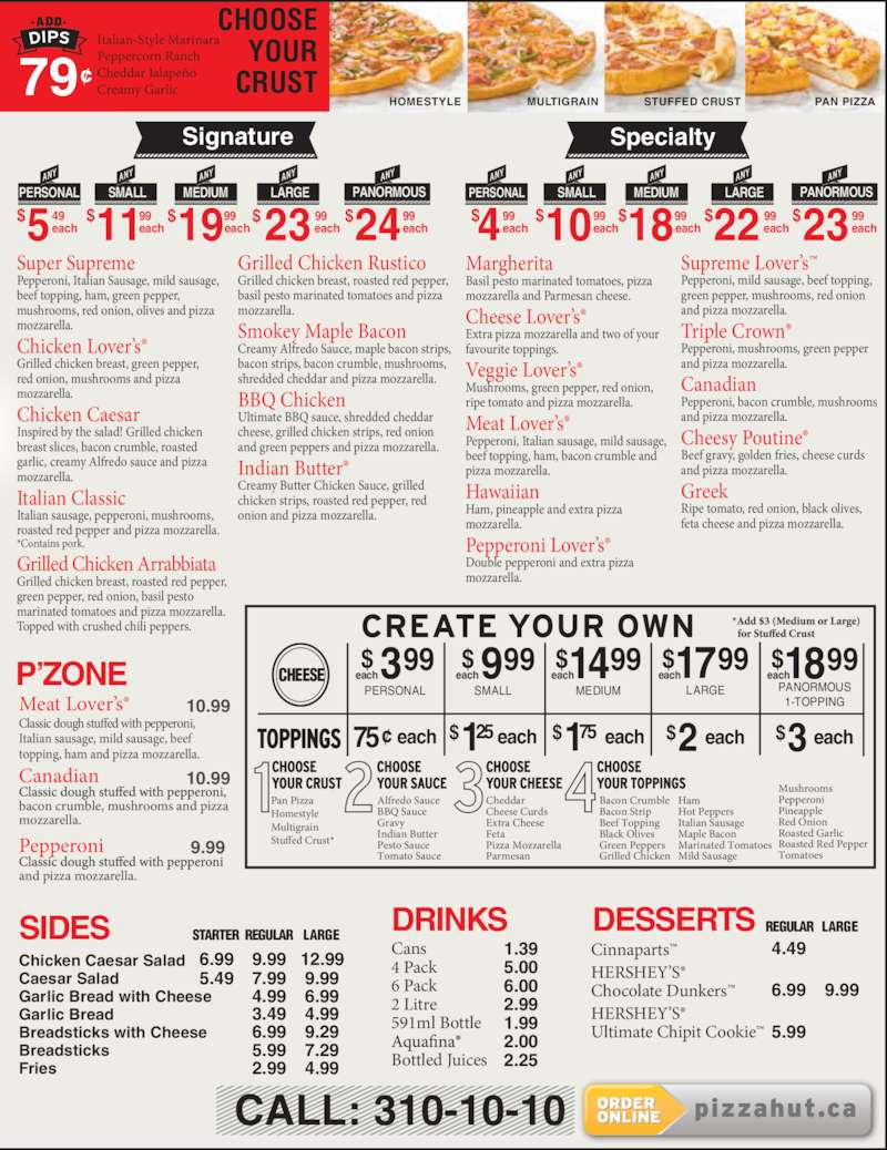 pizza hut menu hours prices 105 1600 15th avenue. Black Bedroom Furniture Sets. Home Design Ideas