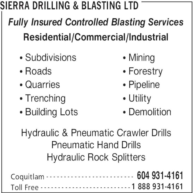 Rock Blasting Service : Sierra drilling blasting coquitlam bc macintosh