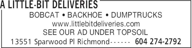 A Little-Bit Deliveries (604-274-2792) - Annonce illustrée======= -