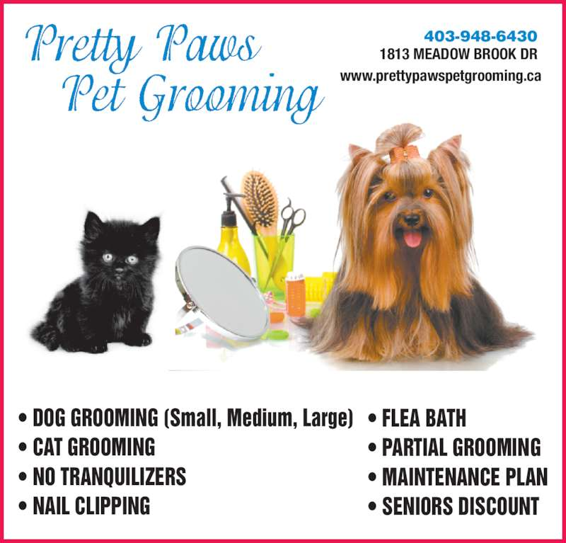 Pretty paws pet grooming airdrie ab 1813 meadowbrook for 4 paws dog salon