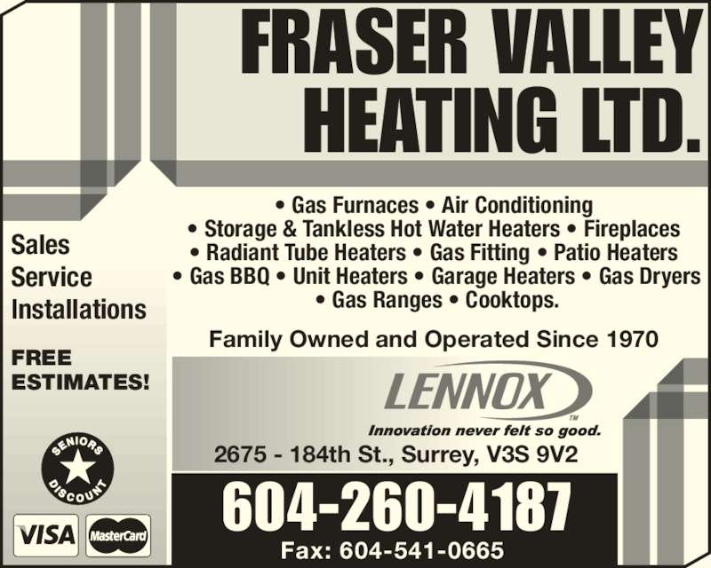 Fraser Valley Heating Ltd Opening Hours 2675 184 St Surrey Bc