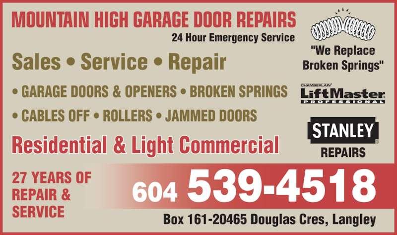 Mountain High Garage Door Repairs Opening Hours 20465