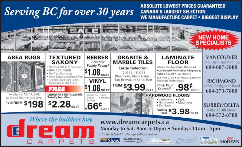 Dream Carpets Ltd Opening Hours 815 Terminal Ave