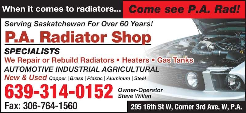 P A Radiator Shop (306-763-3139) - Annonce illustrée======= -