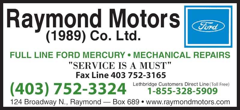 Raymond motors 1989 co ltd raymond ab 124 broadway for Wilson county motors service